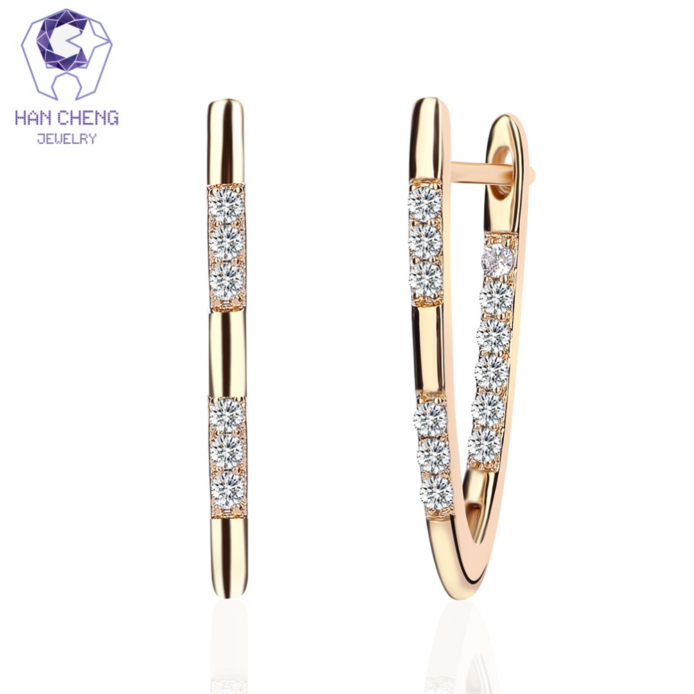 HanCheng New Fashion Hot Luxury V Shape Golden Cubic Zirconia Stud Earrings For Women Jewelry Girl brincos bijoux(China)