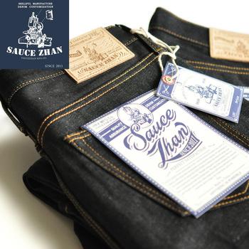 SauceZhan 315XX lekko zwężone dżinsy Selvedge surowe dżinsy niemyte niebieskie dżinsy 14 5 Oz dżinsy motocyklowe dżinsy męskie tanie i dobre opinie CN (pochodzenie) Zipper fly Logo Stałe Proste Na co dzień Midweight Pełnej długości Stripe Dark blue Teens Clothing