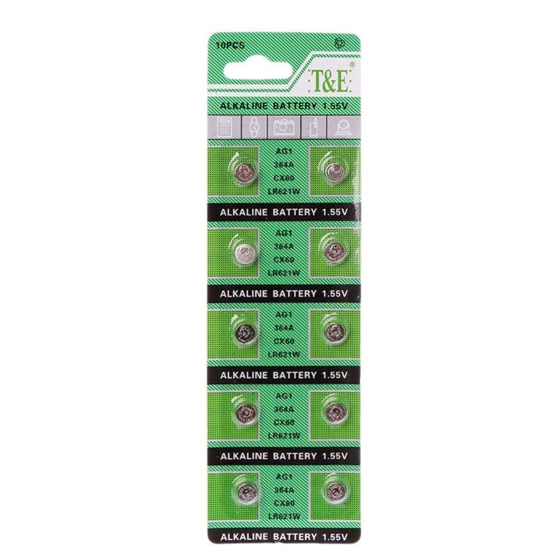 New 10PCS Watch Battery AG1 1.55V 364 SR621SW LR621 621 LR60 CX60 Alkaline Button Coin Cell Batteries Whosale&Dropship