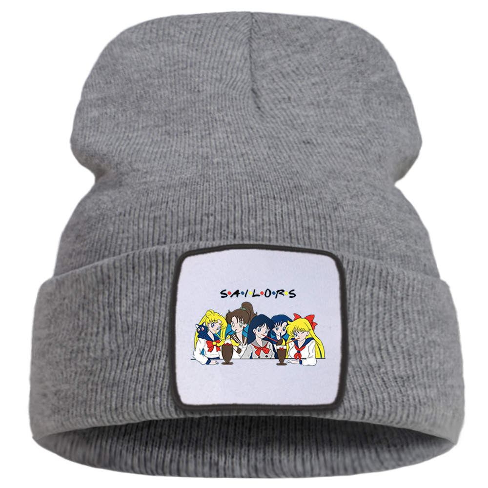 Winter Hat Knitted-Hats Printing Anime Outdoor Boys Fashion Unisex for Solid-Color-Caps