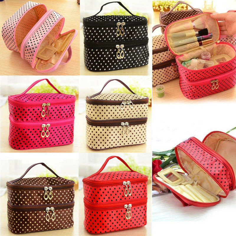 Travel Makeup Cosmetic Toiletry Case Washable Double Layer Organizer Storage Pouch Hanging Bag