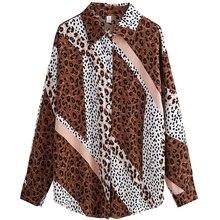 Для женщин рубашки в леопардовой раскраске из шифона со вставками