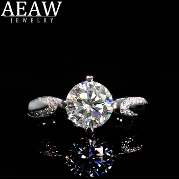 AEAW 1.0ct 6.5mm Round Cut 10k 14k White Gold Yellow Gold Moissanite Ring Original Dazzling Female Jewelry image