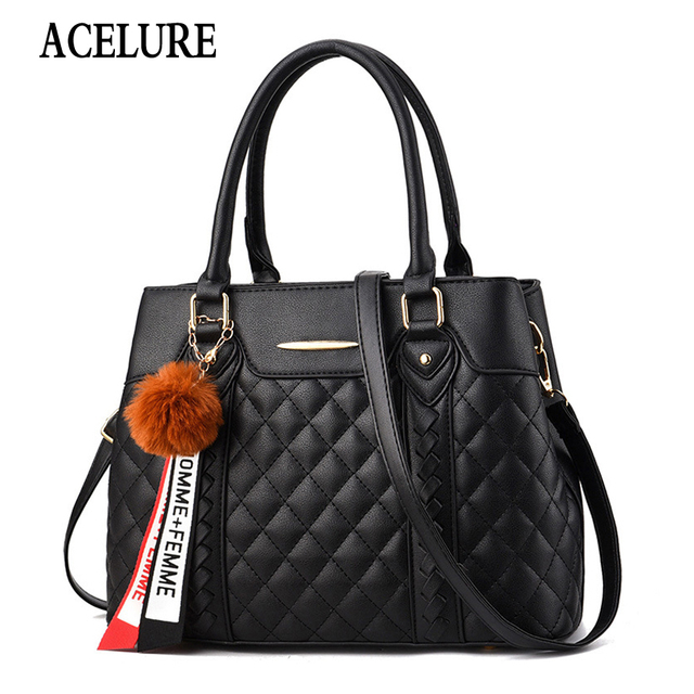 ACELURE Elegant Designer Women Messenger Bags PU Leather Solid Color Crossbody Bag Hairball Shoulder Bag Large Shopping Hand Bag