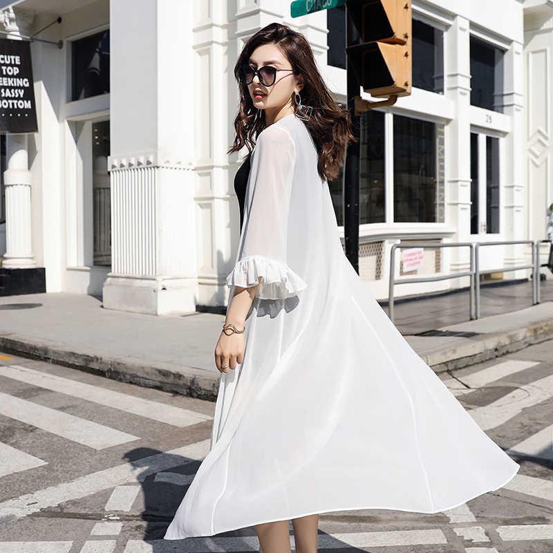 Шифоновое длинное Кимоно Кардиган Женская рубашка блузка весенние рукава до локтя, с поясом прозрачные женские блузки 2019 летние женские рубашки