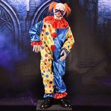 Halloween Horrible Party Prop Electric Funny Clown Cute Clown uncle LED Eyes Horror Voice Body Shaking Children Party Scary toys(China)