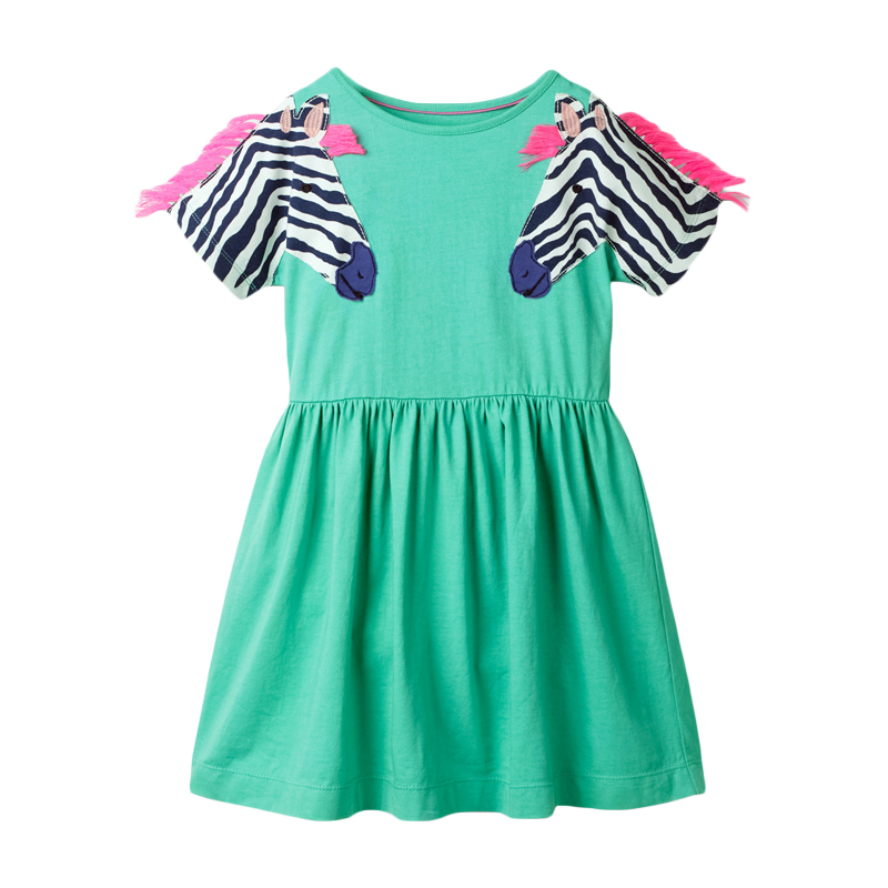 Little maven Dress 2020 Summer Animal Applique Girls Dress for Kids Clothes Cotton Children Princess Dress Unicorn Baby Dress