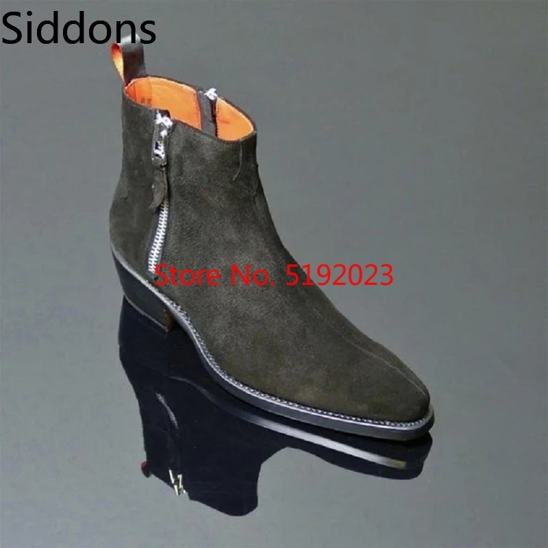 Autumn And Winter Men Fashion High Quality Comfortable Casual Ankle Boots Zipper Pointed Toe Flock Male Casual Boot D178