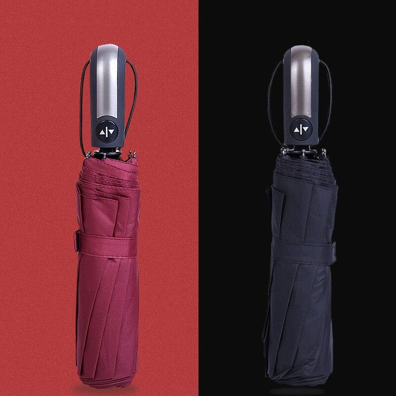 Складной зонт-автомат для женщин и мужчин, большие ветронепроницаемые автоматические зонты от дождя с покрытием черного цвета 10К