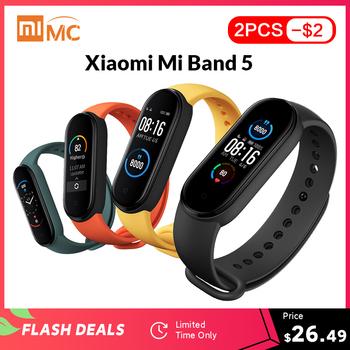 Xiaomi-Opaska Mi Band 5 dostępna inteligentna kolorowy ekran AMOLED 1 1 #8221 pomiar akcji serca monitor fitness wodoodporna z Bluetooth 5 0 tanie i dobre opinie Wszystko kompatybilny RUBBER Passometer Fitness tracker Uśpienia tracker Wiadomość przypomnienie Przypomnienie połączeń