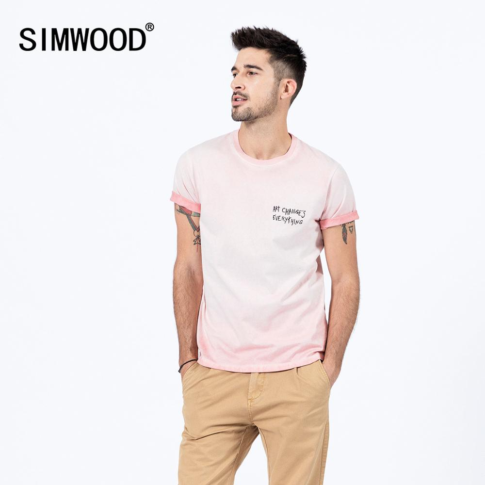 SIWWOOD 2020 Summer New Oil Washed Vintage T-shirt Men Letter Print 100% Cotton Tops Plus Size T Shirts SJ130117