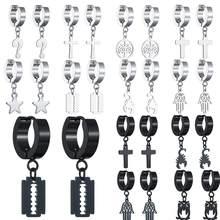 2021 New Stainless Steel Men and Women Pendant Blade Earrings Korean Boys Celebrity Inspired Cool Multi-Layer Earring Wholesale
