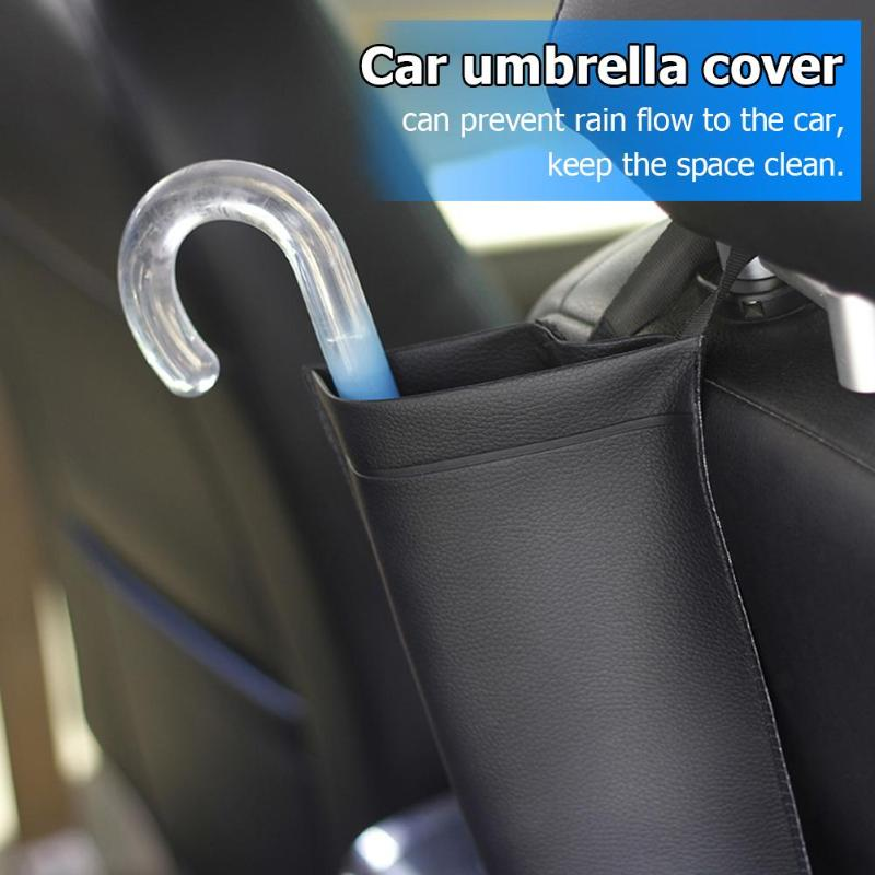 Universal Car Seat Back Umbrella Holder Synthetic Leather Waterproof Storage Bag Auto Accessories Folding Long Handle Umbrella