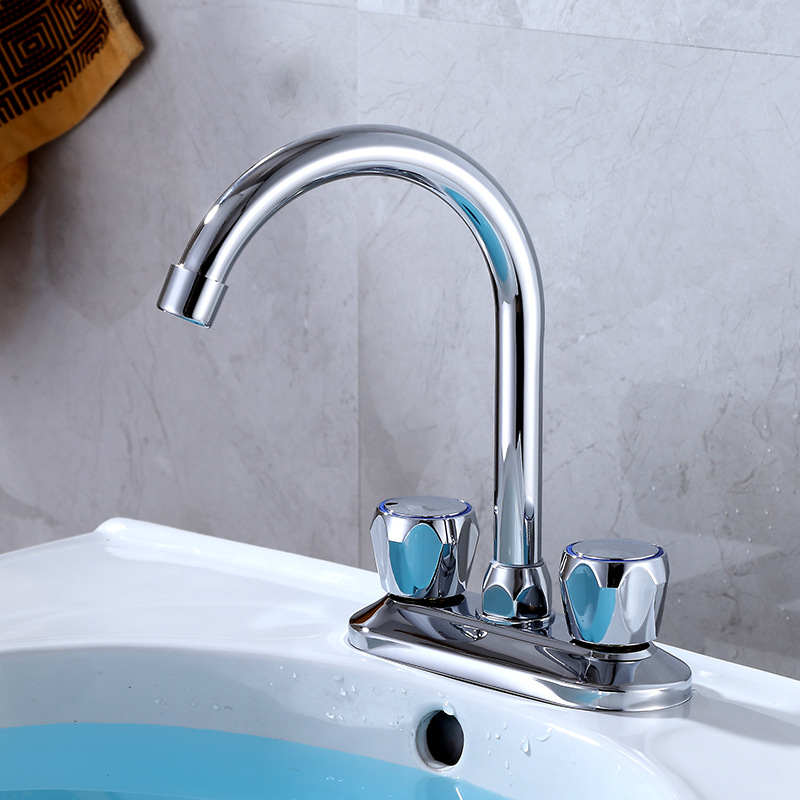 Ride Copper Hot And Cold Basin Faucet Two Couplets Wash Basin Two Handlers And Two Holes Elbow Can Be Connected Washing Machine