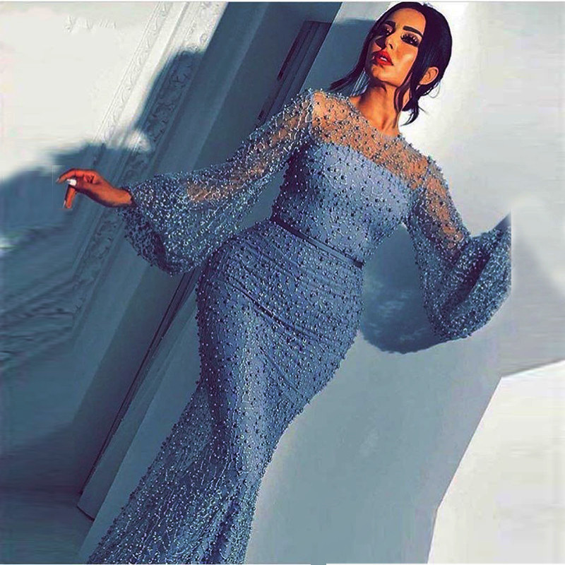 Lace Mermaid Evening Dresses Long Sleeves 2019 Full Pearls Beading Arabic Formal Party Dress Evening Gown Robe De Soiree