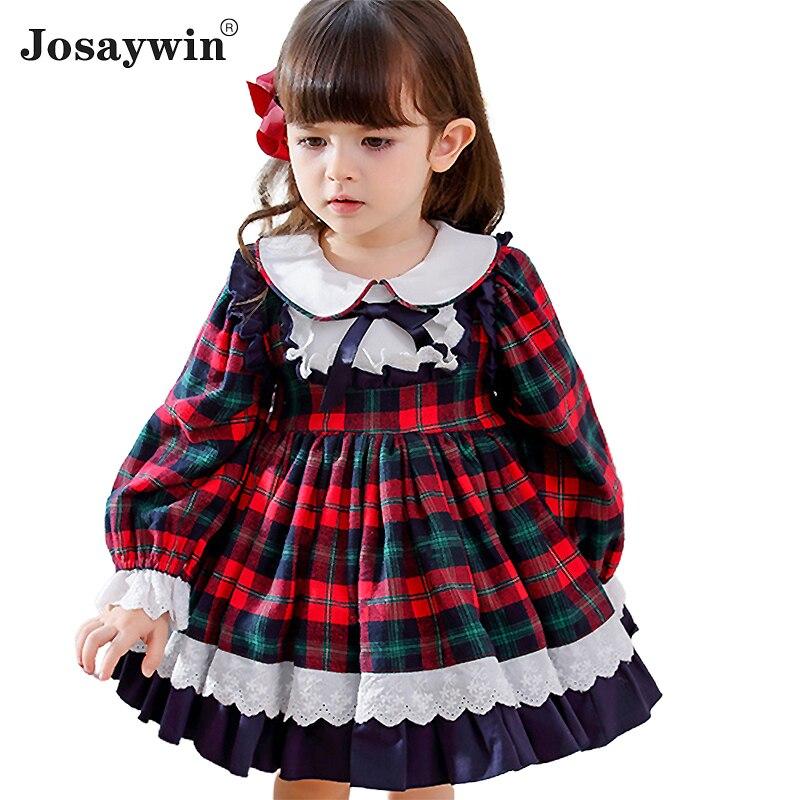 Enfants robe pour filles bébé Lolita robe de fête pour enfant automne hiver robe de mariée fille robe de bal 2020 Plaid Bow princesse Vestidos
