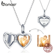 bamoer Unique Custom Photo Heart Box Pendant Necklace for Women Wedding Anniversary Gifts Customized Memory Jewelry BSC102(China)
