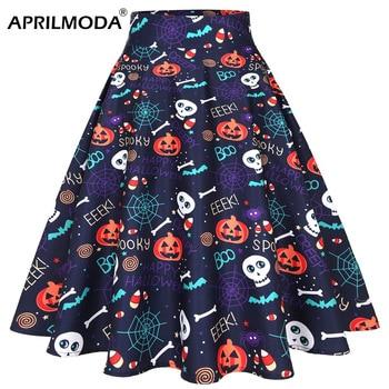 Halloween Pumpkin Skull Printed Casual Midi Skirts For Women 2020 High Waist Plus Size Retro Vintage Big Swing Party Skater 50s bowknot plus size empire waist skater dress
