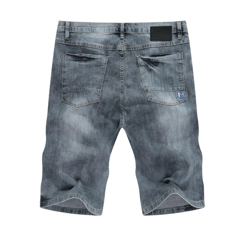 KSTUN Jeans Shorts Mens Grey Jeans Stretch Slim Straight Vintage Casaul Pants Summer Denim Shorts Male Jeans High Quality Brand 12