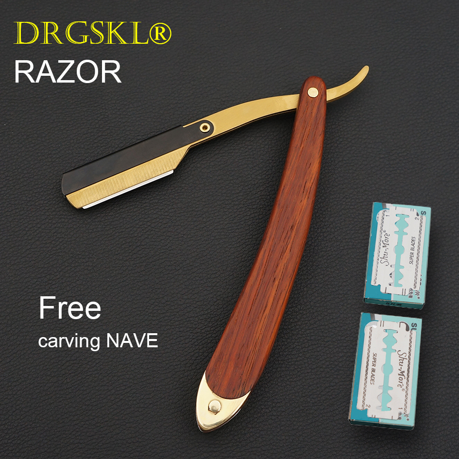 NEW Men's Manual Razors Classic Shaver Wooden Handle Portable Face Razor Barber Hair Cut Razor Change Blade Type Shaving Knife