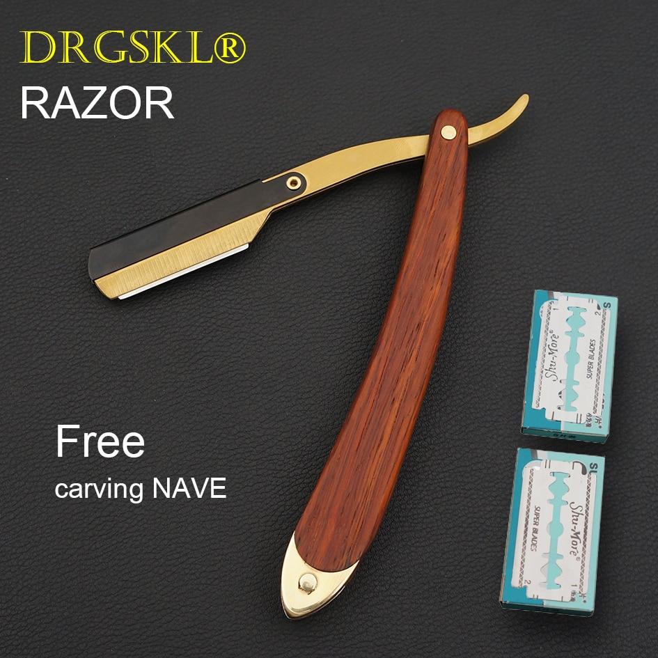 NEW Men's Manual Razors Classic Shaver Wooden Handle Portable Face Razor Barber Hair Cut Razor Change Blade Type Shaving Knife