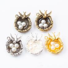 20 шт/лот модное ожерелье с подвеской в виде птичьего гнезда