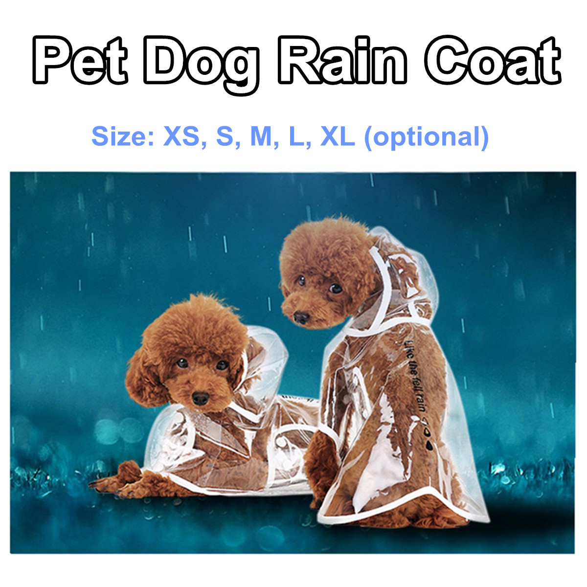 5 Size Waterproof Dog Raincoat With Double Snap Transparent Pet Dog Puppy Rain Coat Cloak Costumes Clothes For Dogs Pet Supplies