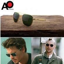 Homem aviação ao óculos de sol com vidro lenes vintage clássico marca designer exército americano militar óculos de sol óptico eyewear