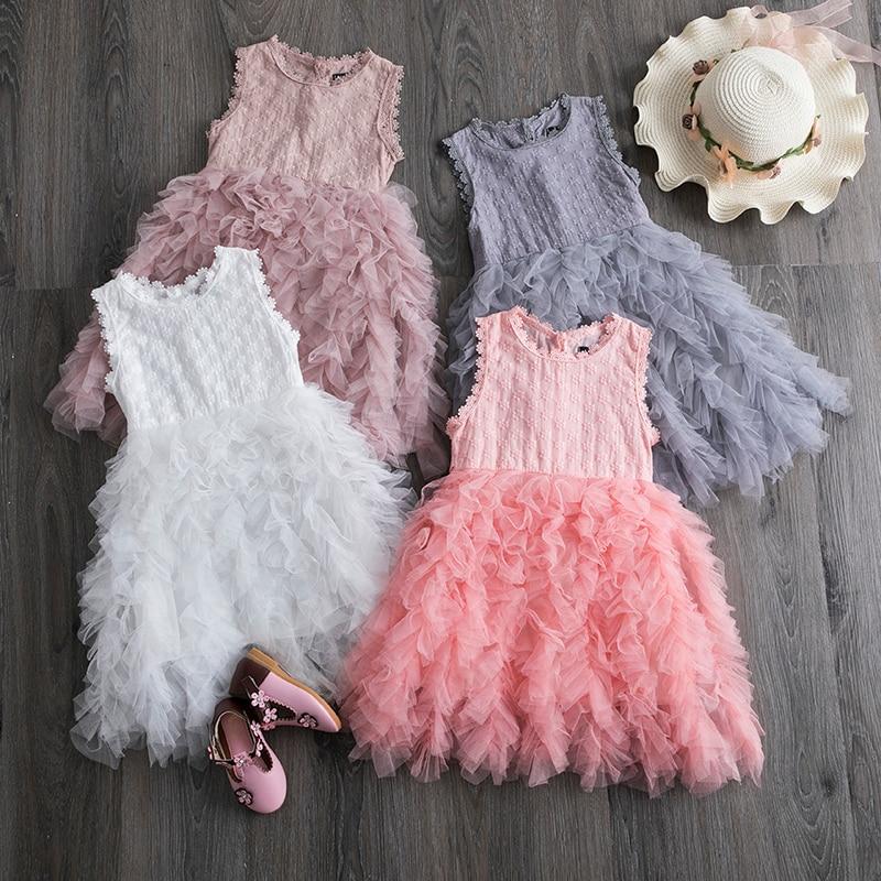 WUAI Baby Girls Floral Princess Dress Casual Fake Two Pieces Short Sleeve Floral Skirt Tutu Dress