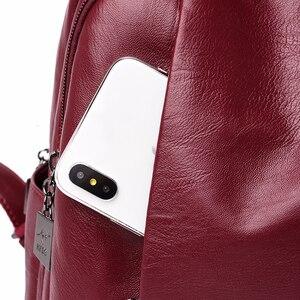 Image 5 - 2019 femmes sacs à Dos en cuir femme voyage Sac à Dos dames Sac A Dos sacs décole pour filles Preppy Style grande capacité Sac à Dos