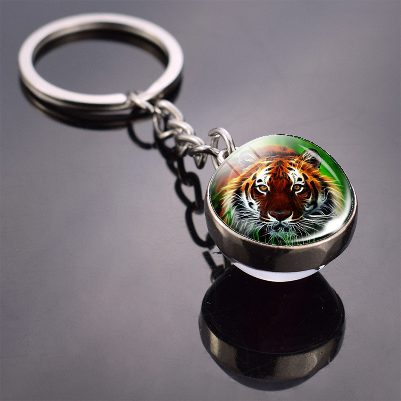 Tiger Keychain Animal Tiger Picture Glass Ball Keychain Double Side Cabochon Glass Pendant Metal Keyring Tiger Jewelry For Men