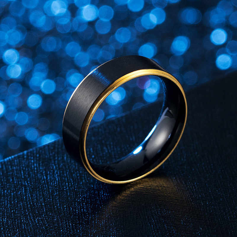 Rainbow Stainless Steel Cincin untuk Wanita Perhiasan Hitam Cincin Janji Pernikahan Pria Warna-warni Beberapa Cincin Femme Pertunangan Ri
