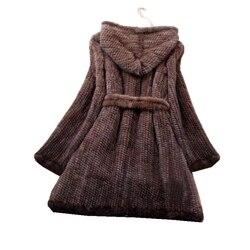 Winter Echte Natuurlijke Nertsen Bontjas Jas Vrouwen Bont Geul Overjas Hoody Bovenkleding Jassen Plus Size 4XL 5XL LF9042