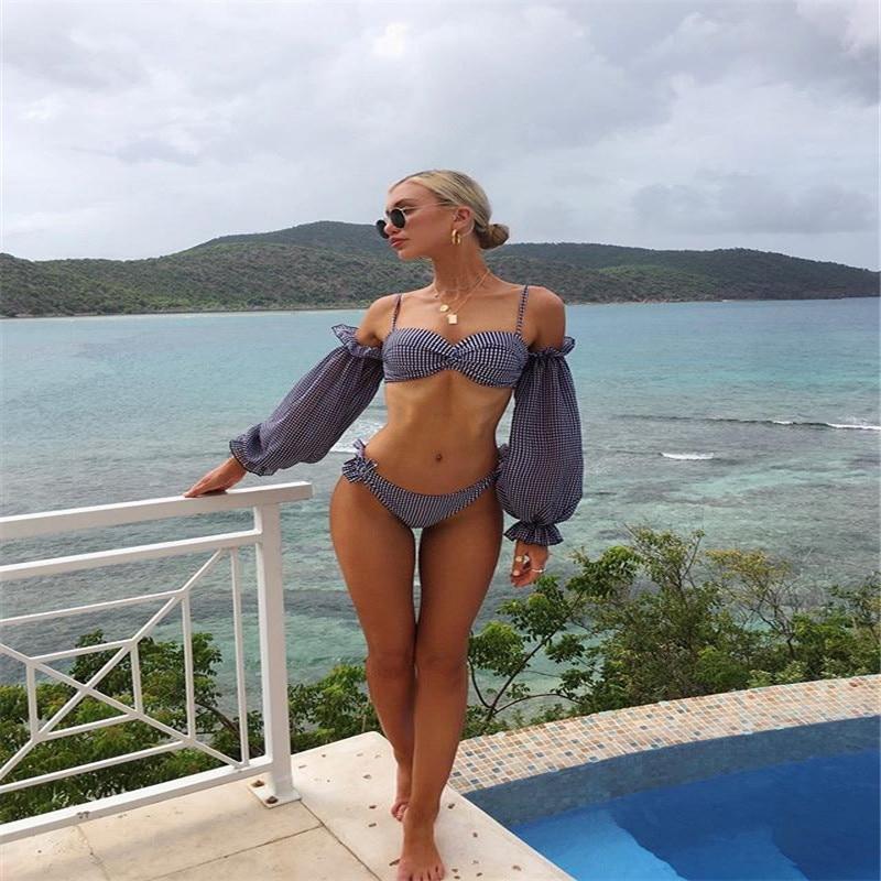 New Women Sexy Set Bikini Swimwear Split Lattice Long Sleeve Sunscreen Swimsuit Plus Size Conservative Sexy Bikini Swimsuits