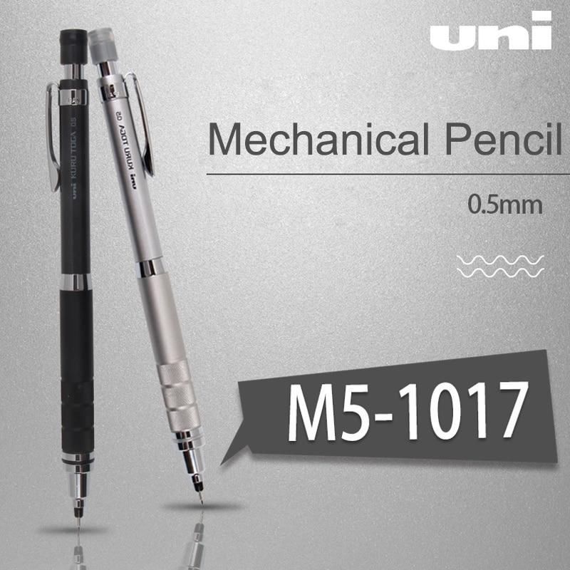 Japan UNI M5-1017 Kuru Toga Mechanical Pencils Metal Sketch Painting Automatic Rotation Pencil 0.5mm Writing Constant Lead