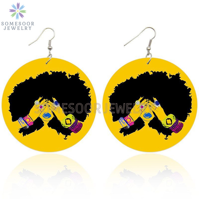 SOMESOOR AFRO Natural HairTouch Wooden Drop Earrings Curly Black Girl Hiphop Art Designs Both Sides Painted For Women Gifts