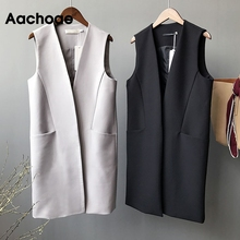 Blazer Vest Sleeveless Jacket Coat Cardigan Pockets Female Long Casual Women Solid Aachoae
