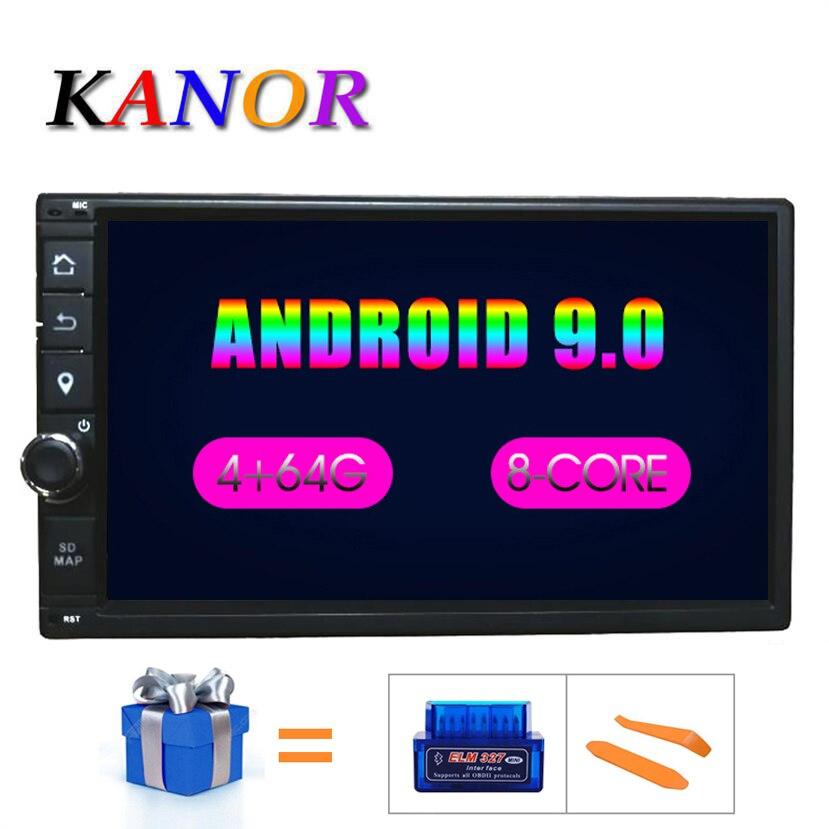 KANOR Octa Core RAM 4G ROM 64G 2 Din Android 9.0 universel voiture Audio stéréo Radio avec GPS WiFi GPS Navigation vidéo unité principale