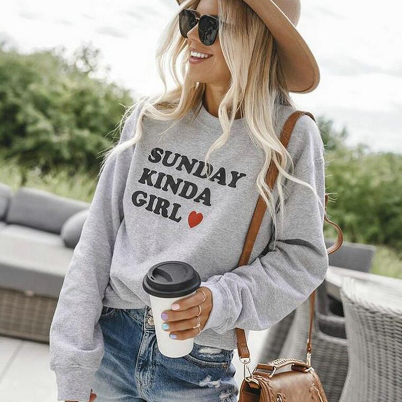 White Hooded For Student Sunday Kinda Girl Women Loose Long Sleeve Sweatshirts Fashion Soft Tracksuit Kawaii Round Neck Dropship