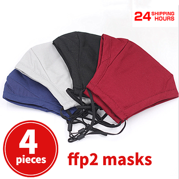 4pcs FFP2 masks Anti Pollution Dust Face Cover Washable Reusable Mask with Activated Carbon Filters Breath Cycling Dust Masks