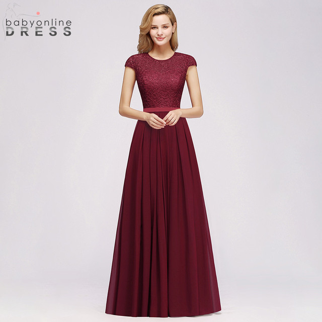 מקסים בורגונדי תחרה שיפון ארוך שמלת ערב 2019 אלגנטי קצר שרוול ערב מסיבת שמלות רשמיות ערב שמלות