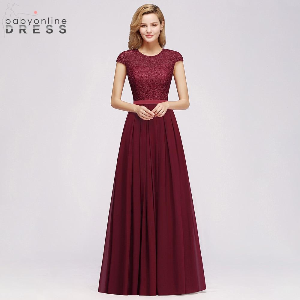 Charming Burgundy Lace Chiffon Long Evening Dress 2019 Elegant Short Sleeve Evening Party Dresses Formal Evening Gowns
