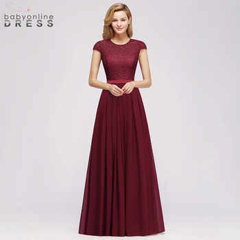 Charming Burgundy Lace Chiffon Long Evening Dress 2019 Elegant Short Sleeve Evening Party Dresses Formal Evening Gowns - DISCOUNT ITEM  50% OFF All Category