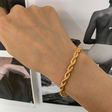 Peri'sbox 5mm Thick Twisted Cable Chain Bracelets Gold Color Chunky Rope Bracelets for Women Vintage Bracelet 2020 Hot Jewelry