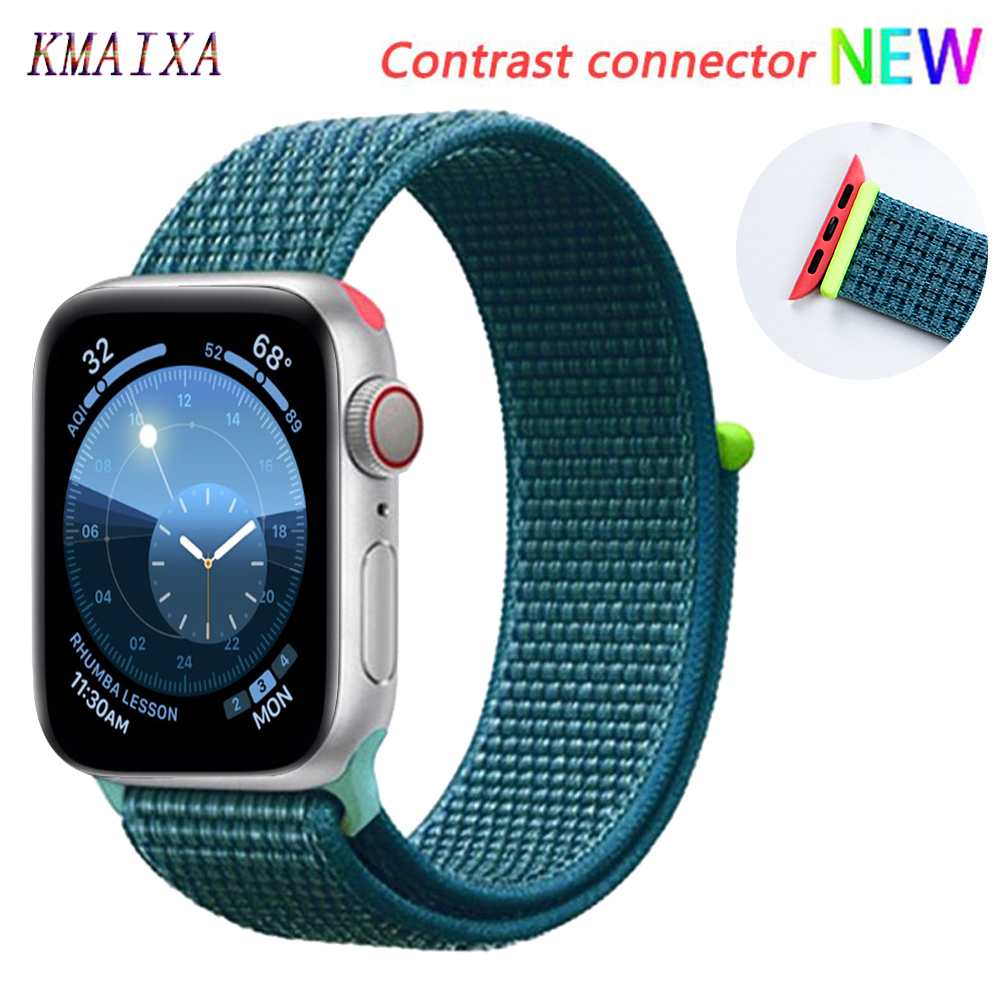 Strap For Apple Watch 5 4 Band Correa Apple Watch 42mm 44mm 38 Mm 40mm Iwatch Series 5 4 3 2 1 Nylon Pulseira Bracelet Watchband