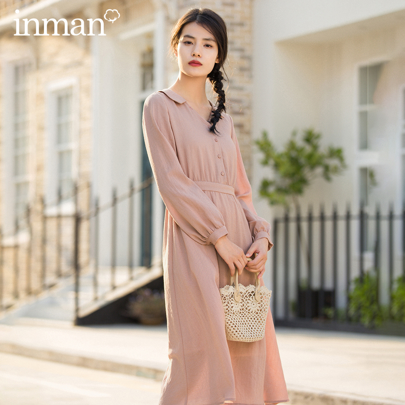 INMAN 2020 Spring New Arrival Literary Pure Color Lapel Single-breasted Nipped Waist A-line Lower Hem Long Sleeve Dress