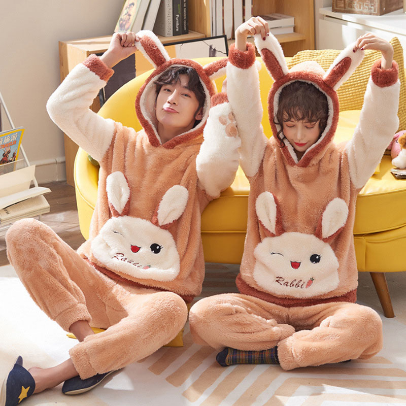 Pajamas For Men Unisex Adult Winter Couple Pajamas Warm Thicken Hooded Sleepwear Cute Cartoon Pyjamas 2 Pieces Male Home Clothes