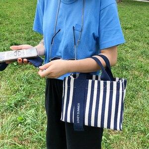 Image 5 - Multiple Pocket Stripe Tote Handbag Casual Canvas Soft Crossbody Bags For Women Fashion Korean Portable Shoulder Bag