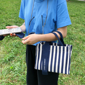 Image 5 - Multiple pocket stripe tote bolsa casual lona macio crossbody sacos para mulheres moda coreano portátil bolsa de ombro