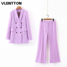 Spring Autumn Sexy V-Neck Pants Suit Women Office Lady Long Blazer Jacket Coat+Zipper Flare Trousers Casual Two Piece Set Female